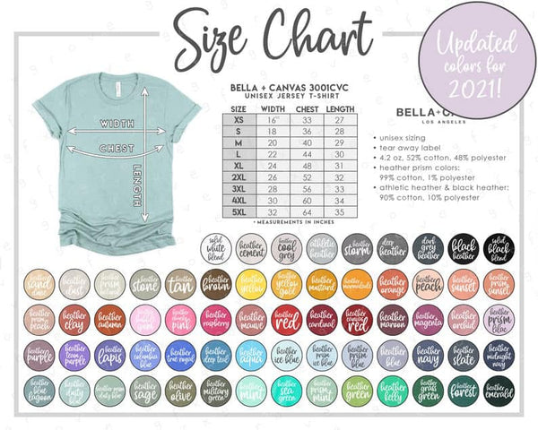Bella Canvas 2021 Color Chart - 3001 T-Shirts