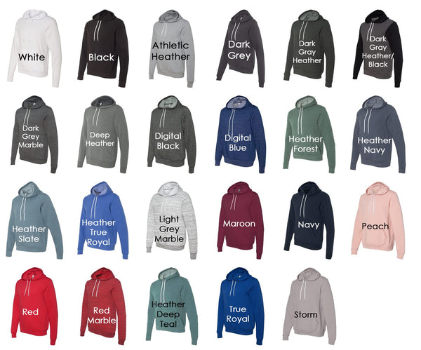 Bella Canva Unisex Hoodie Color Chart - Kat's Closet