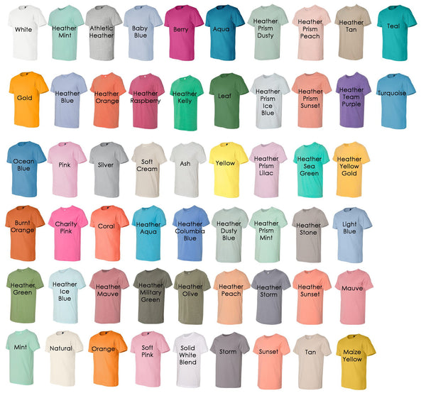 Bella Canvas Unisex Tee Color Chart - Kat's Closet