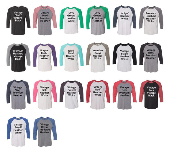 Next Level Unisex Baseball Tee Color Chart - Kat's Closet