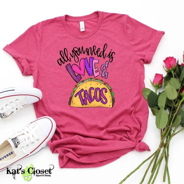 All You Need Is Love & Tacos Custom Graphic T-Shirt Tees