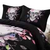 Black Floral Skull 3D Duvet Cover Bedding Set