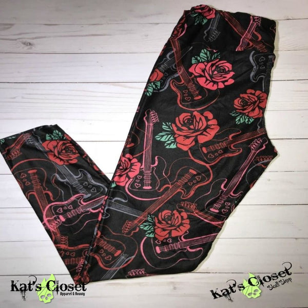 Charlie's Project Guitars & Roses Leggings - TWEEN Size ONLY