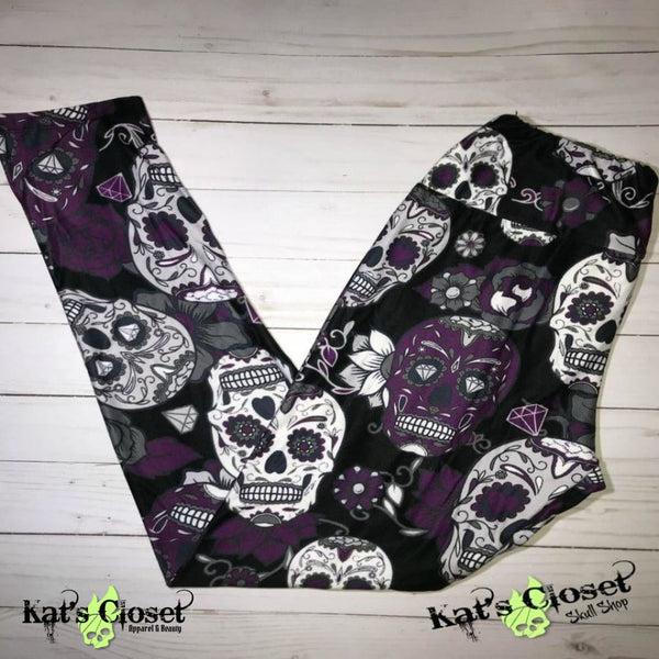 Charlie's Project Purple Skulls Leggings - TWEEN Size ONLY