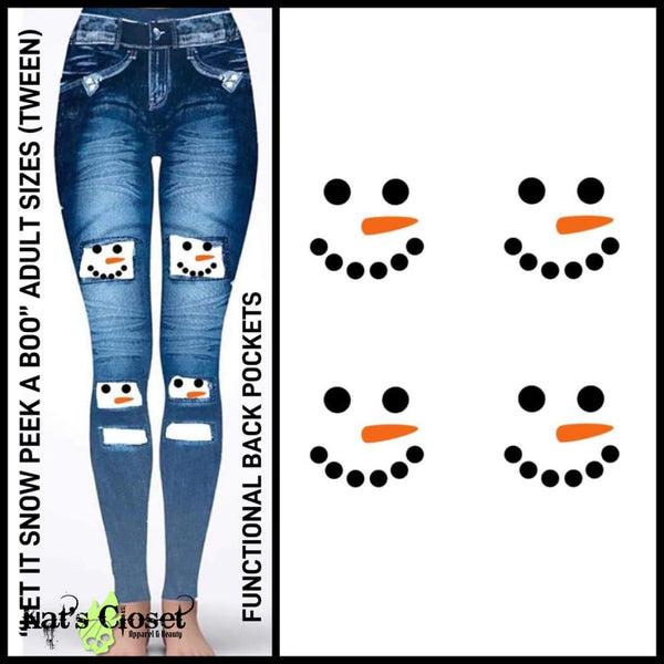 [PRE-ORDER]Custom Let It Snow Peek A Boo Leggings - Pre Orders Close 11/12