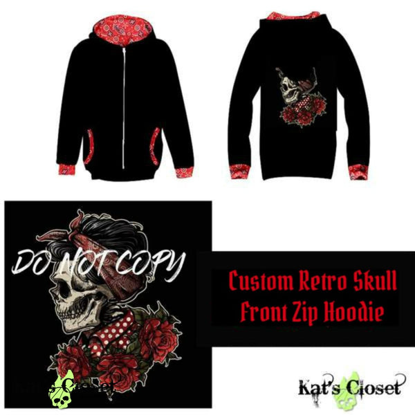 Custom Retro Skull Front Zip Hoodie - In Stock