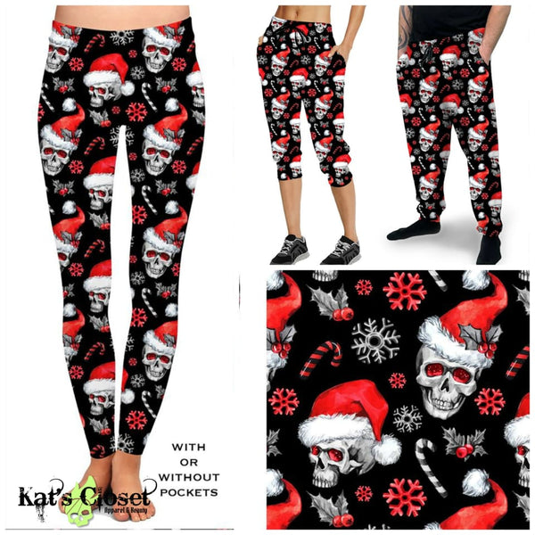 Custom Santa Skulls Leggings Capris Joggers & Joggers- ETA Early Nov Ordered Pre-Orders