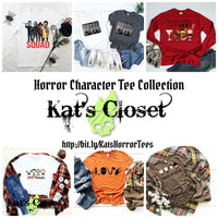 Horror Character Custom Tee Collection - Jason, Pennywise, Freddy, Michael. Chucky, Leatherface