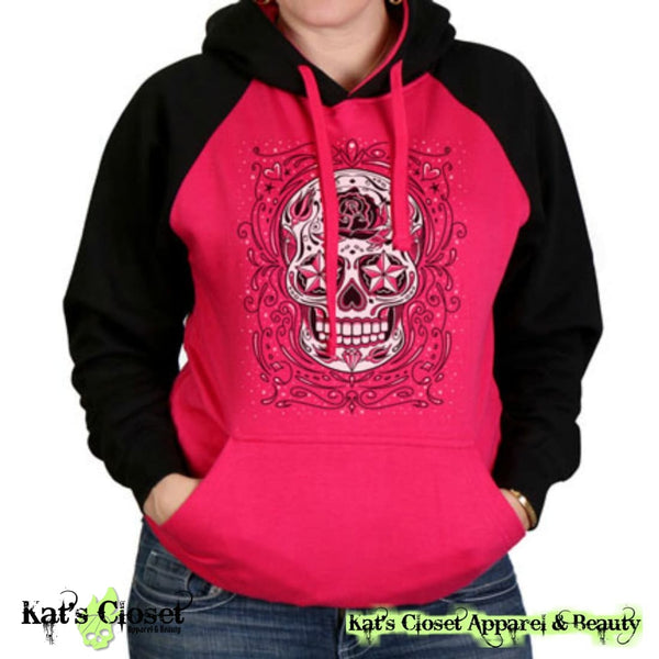Raspberry & Black Sugar Skull Raglan Sweatshirt Large