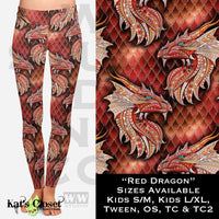 WW Red Dragons Leggings OS NonSkull