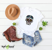Sugar Skull Graphic T-Shirts - 6 Designs to Choose From Blue/Purple Head / Small Tees