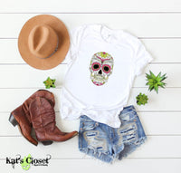 Sugar Skull Graphic T-Shirts - 6 Designs to Choose From Half Sun Forehead / Small Tees