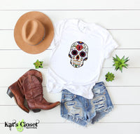 Sugar Skull Graphic T-Shirts - 6 Designs to Choose From Heart Lock Forehead / Small Tees