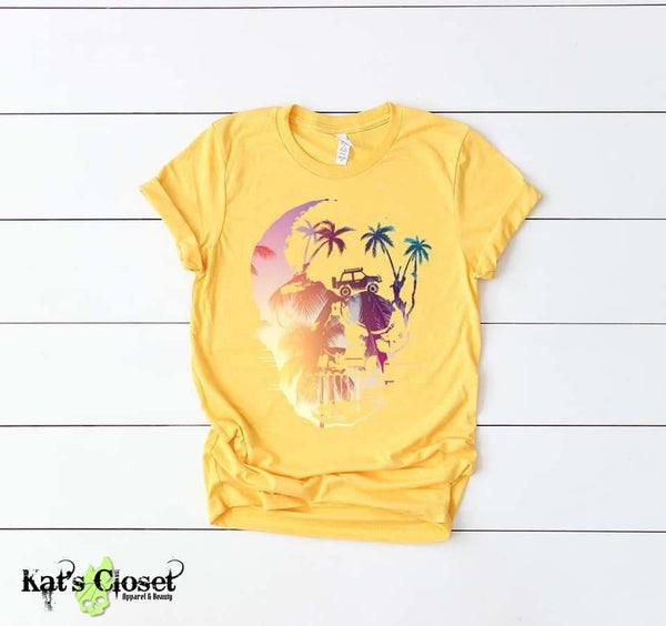 Tropical Adventure Skull Custom Graphic T-Shirt Small Tees