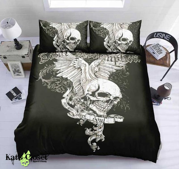 Winged Skull Duvet Cover Bedding Set