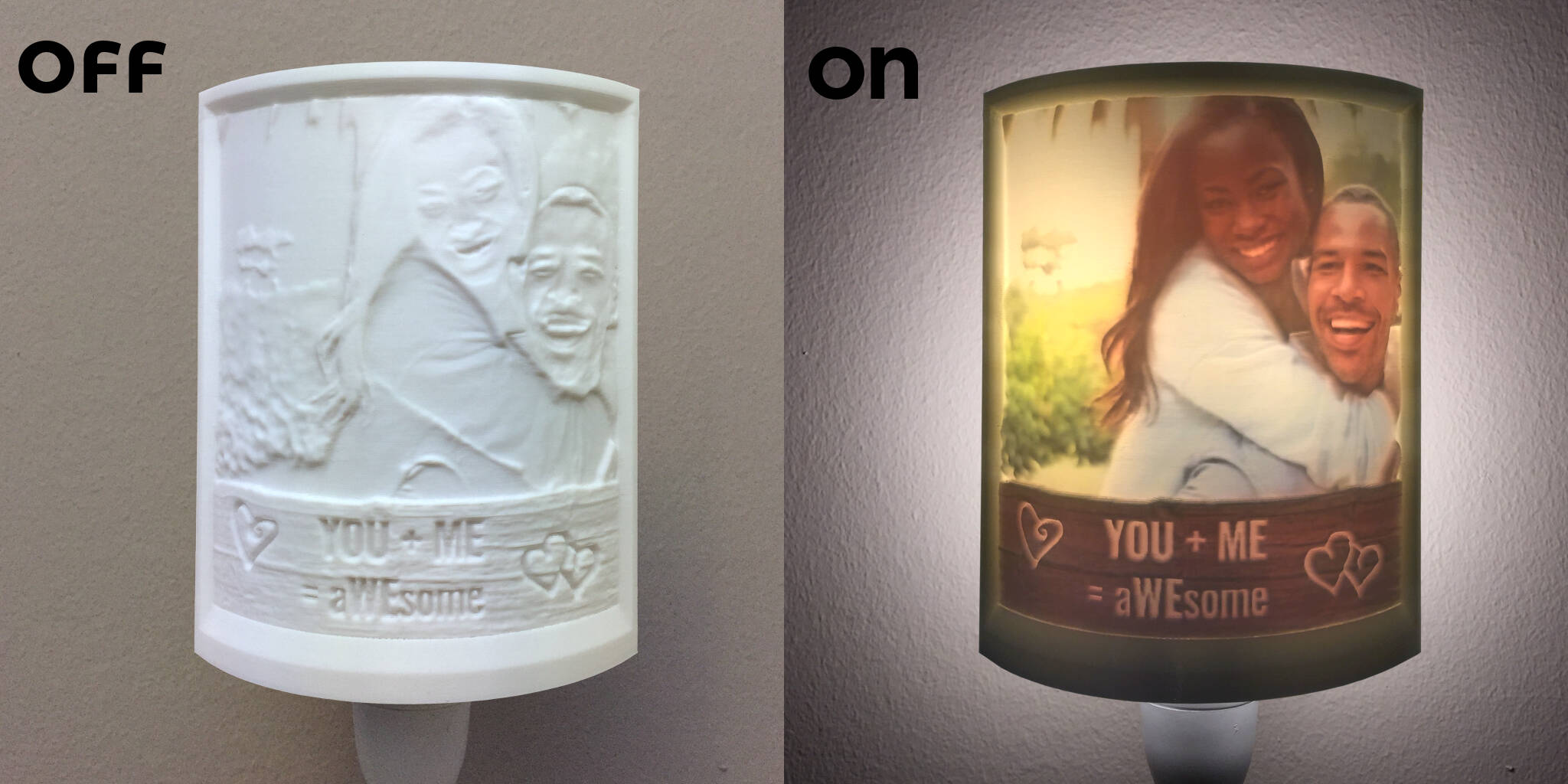 Off-On Customized Couple 2.5D Flexible Night Light