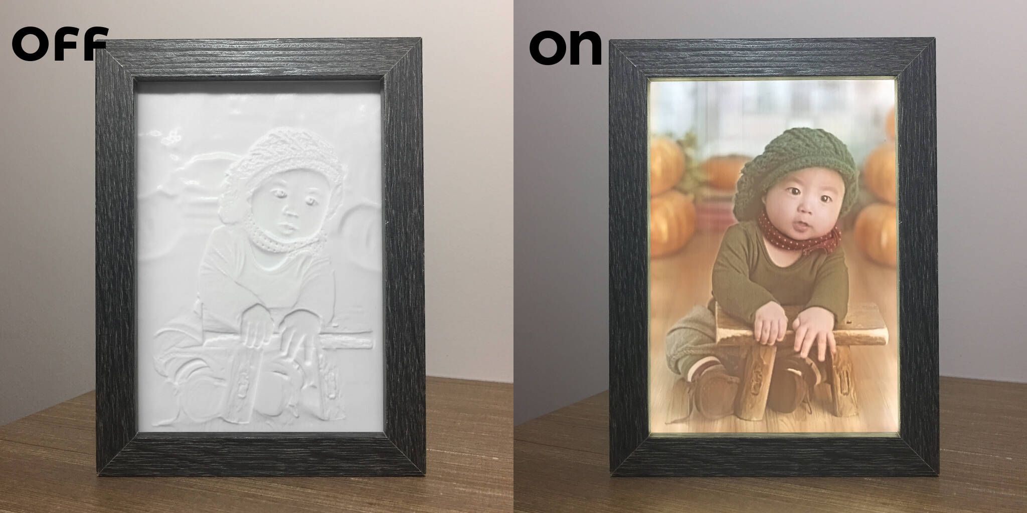 2.5D photo with backlit frame, also known as lithophanes