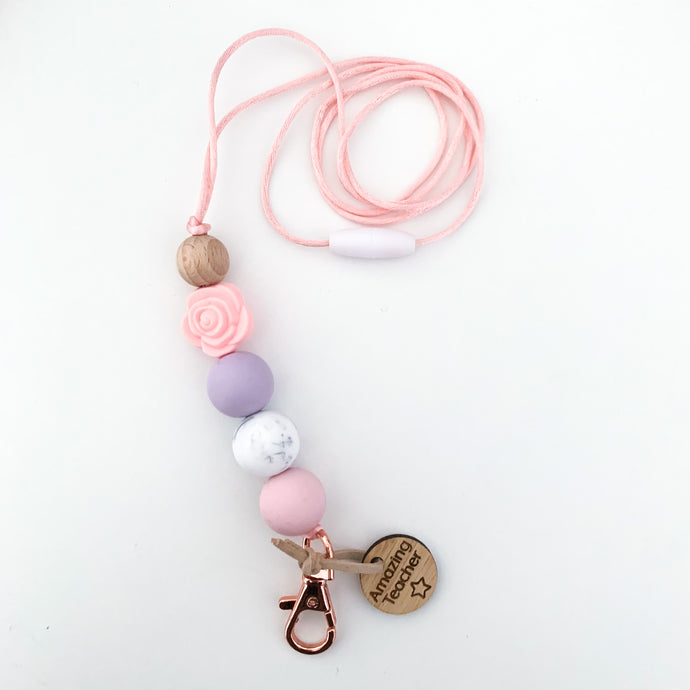 Rose Lanyard with Teacher Charm