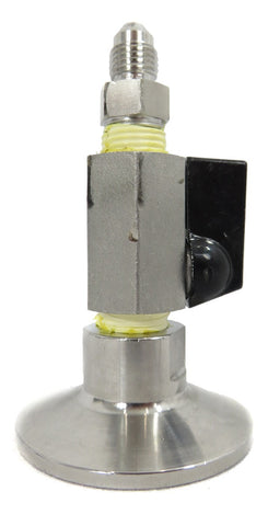 "Tri-Clamp Topcap with Valve and 1/4"" 37 Degree JIC Flare"