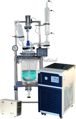 Ai R Series 10L Single Jacketed Glass Reactor w/ Chiller & Pump