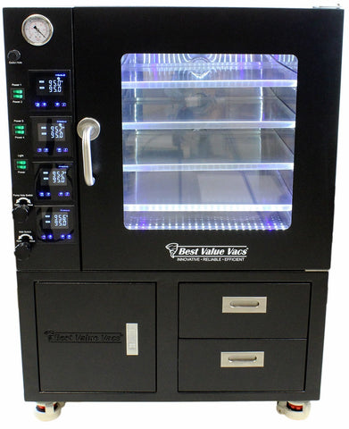 Vacuum Drying Ovens 3.2CF BVV - LCD Display and LED's - 4 Individually Heated Shelves with Drawers and Pump Cabinet