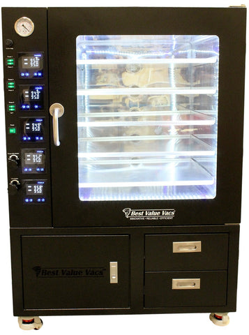 Vacuum Ovens 7.5CF BVV - LCD Display and LED's - 5 Individually Heated Shelves with Drawers and Pump Cabinet