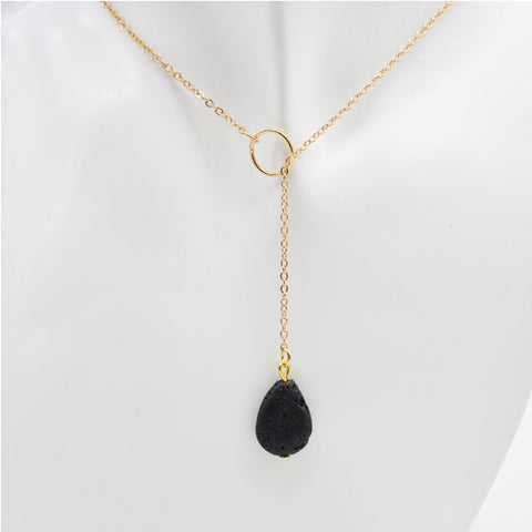 Black Natural Lava Stone Necklace Aromatherapy Essential Oil Diffuser