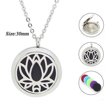 Lotus Flower Essential Oil Diffuser Necklaces - Stainless Steel