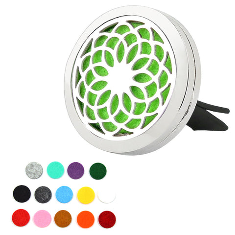 Car Essential Oil Diffuser Stainless Steel Locket includes 15 Pcs Pads