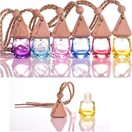 Car Hanging Air Freshener Aroma Diffuser Empty Glass Bottle