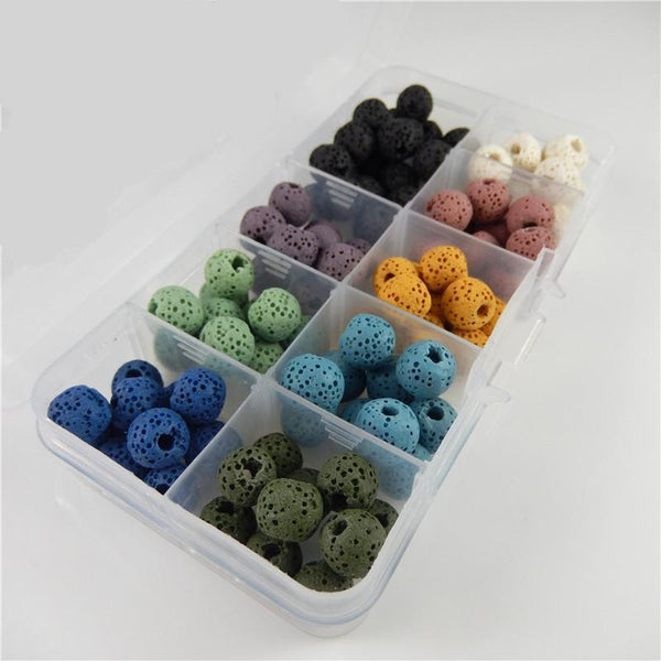 Natural Mixed Color Lava Stone Beads Jewelry - 120 pcs