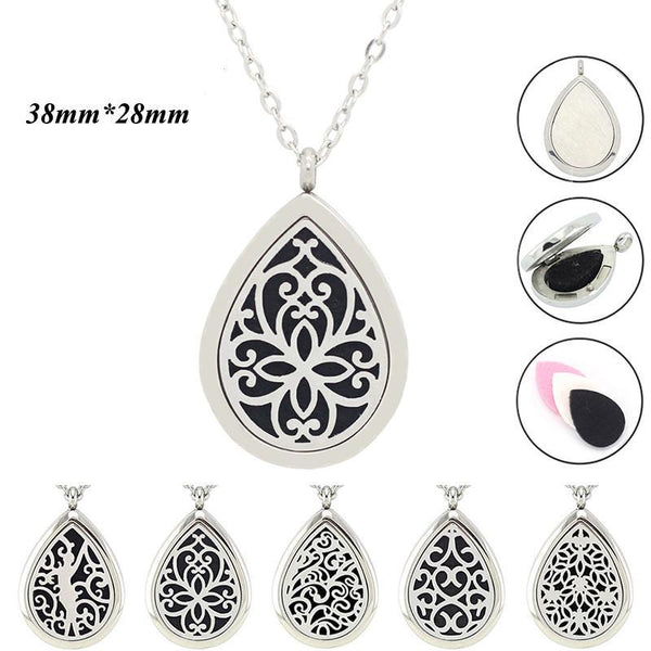 Raindrop Stainless Steel Essential Oil Diffuser Necklaces
