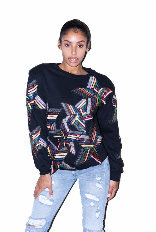 High Shoulder Sequin Star Sweatshirt