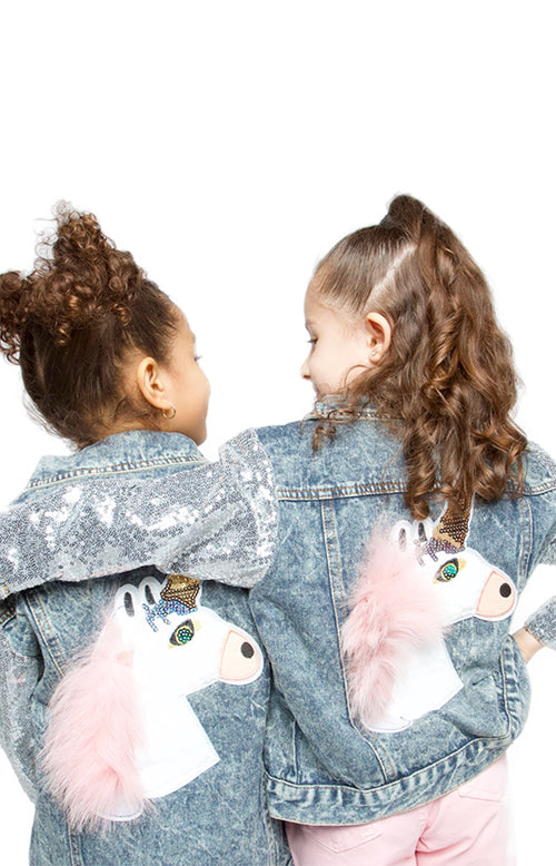 Magic Denim Unicorn Sequin Sleeve Jacket