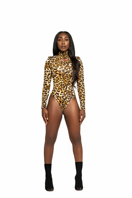 Leopard High Shoulder  Bodysuit