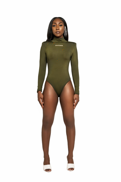 Olive Forever High Shoulder  Bodysuit