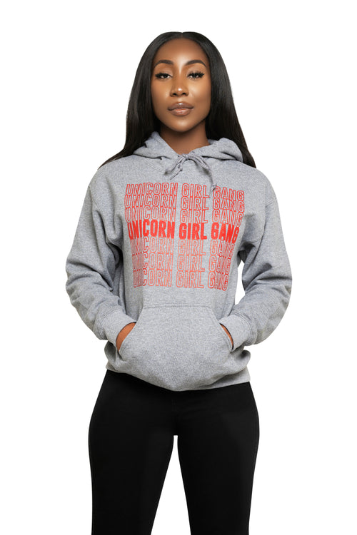Unicorn Girl Gang Hoodie-Grey