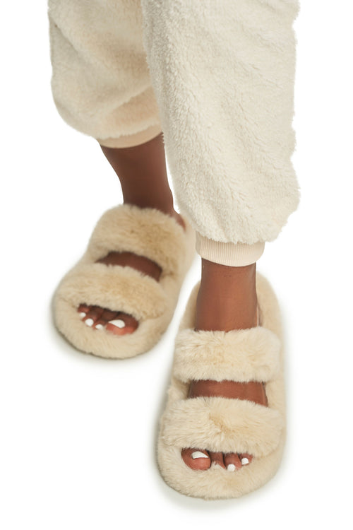 Two Strap Fur Slides (more colors)