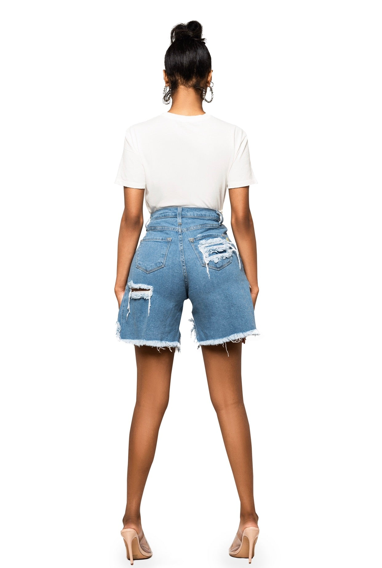 Funtime Hi Low Denim Shorts