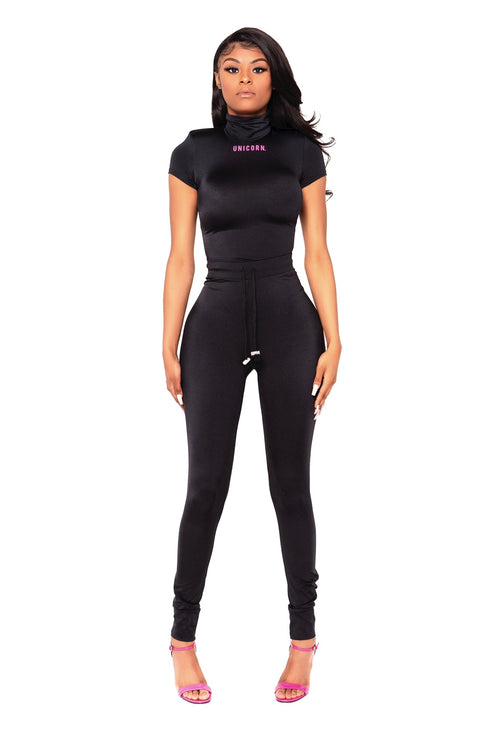 Black Unicorn High Waist Spandex Jogger