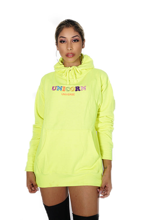 Neon Embroidered Unicorn Hoodie