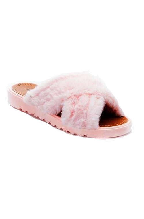Dusty Pink Fur Slide