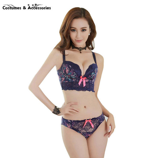 Lace Push Up Side Support Plunge Bra and Panty