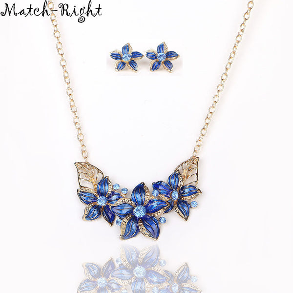 Flower Statement Necklace With Earring