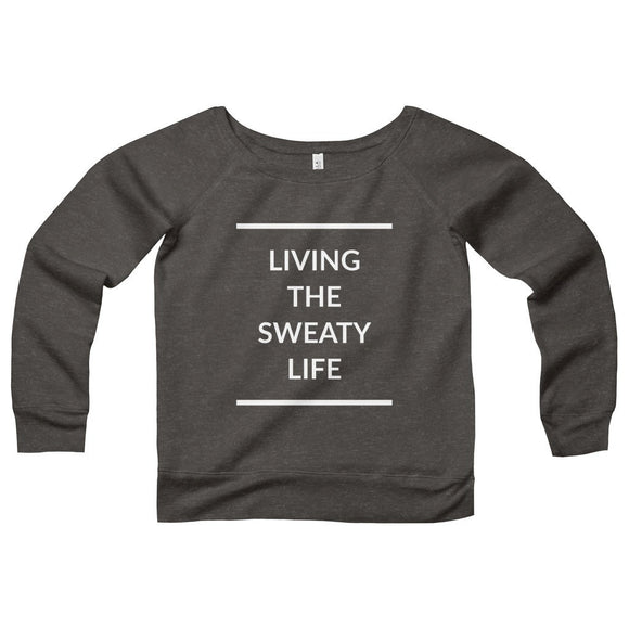 Women's Living The Sweaty Life Wide Neck Triblend Sweatshirt - Black Heather