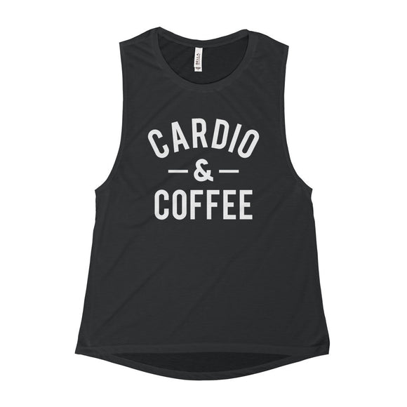 Cardio & Coffee Scoop Muscle Tank Top - Black