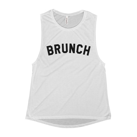 Women's Brunch Scoop Neck Flowy Muscle Tank Top - White