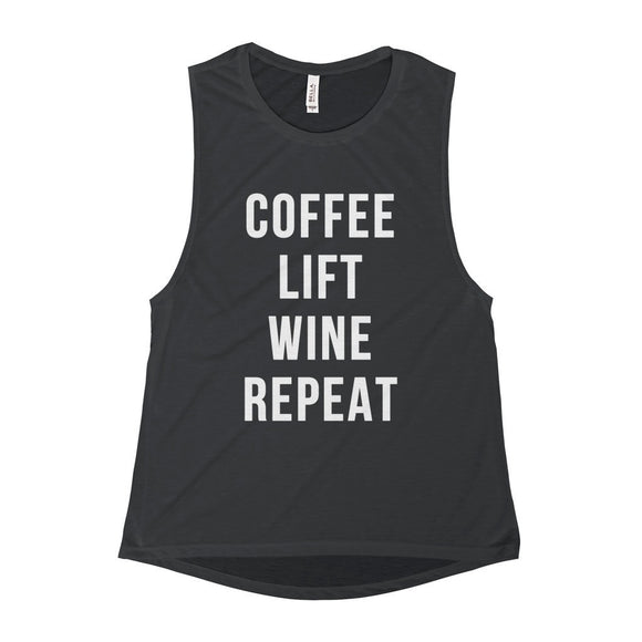 Coffee Lift Wine Repeat Muscle Tank Top - Black