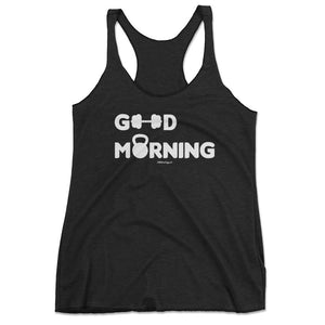 Good Morning Cute Workout Tank Top, Workout Shirts With Sayings - Pink