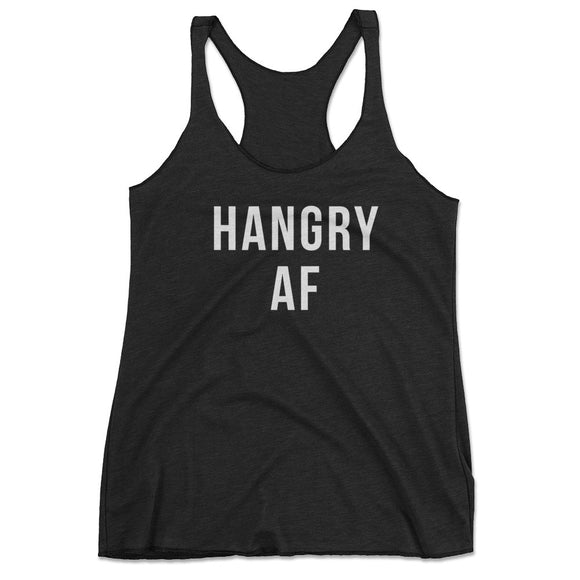 Hangry AF Funny Workout Tank Top - Black